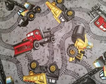 Tonka Road Work Construction Trucks Grey Fabric From Quilting Treasures