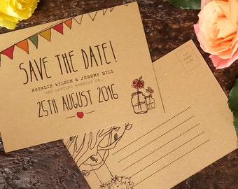 Rustic, hand illustrated save the date postcard on thick kraft card.