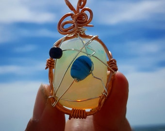 Wire wrapped opalite