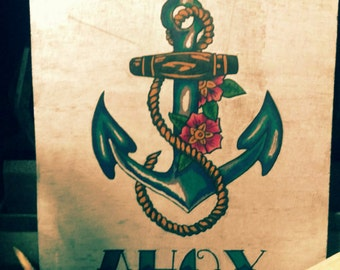 Nautical anchor tattoo personalised sign