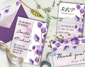 Wedding printable invitations set, Floral wedding invitation, RSVP, Thank you card.