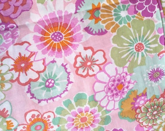 Floral Watercolor Fabric -- Bright Flowers Pink Cotton