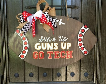 Texas Tech Football Door Hanger - Wood Football Sign - Man Cave Football Decor- Coach Gifts with Kids Signature & year
