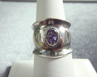 Sterling Silver Purple Stone Adjustable Cigar Ring RR20