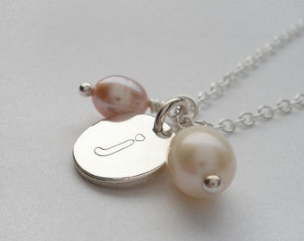 Sterling Silver Engraved 'J' necklace - OOAK