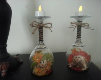 Wine Glass Candle Holders: Scarecrow