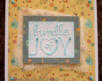 New Baby, Bundle of Joy, handmade baby card, 6 inch baby card/artwork