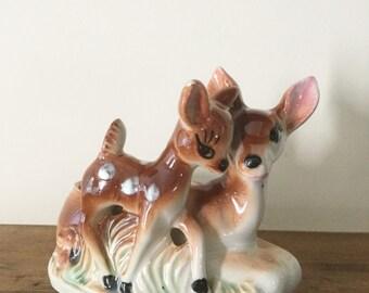 Vintage Bambi with Mother Deer Ceramic Planter.