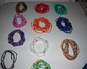 10 single strand seed bead stretch bracelets as a set