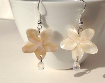 Earrings silver, flower, beach, Flower shell earrings, summer vacation, gift