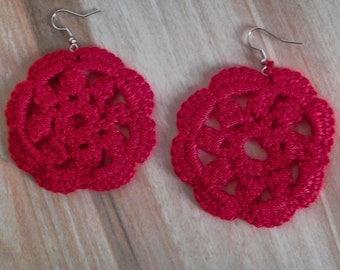 crochet earring,handmade crochet earring,100% cotton