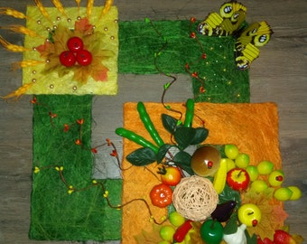 Handmade Wall Picture for the kitchen, Mixed Media Art, Artificial Flowers,  Botanical Art Wall Hanging