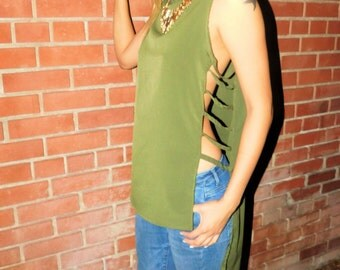 Cut Out High-Low Tank Top in Olive Green and Black