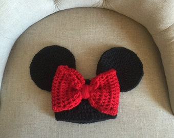 Disney inspired Minnie hat/ beanie for newborn and toddler