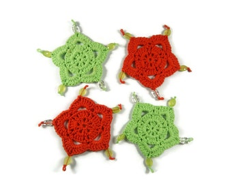 Set of 4 Handmade Crochet Christmas Coasters, Red and Green Doily Coasters with Bead Embellishments