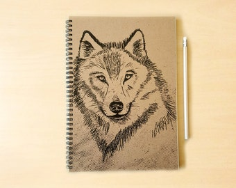 Wolf Kraft Notebook/Sketchbook Spiral Bound - Blank pages