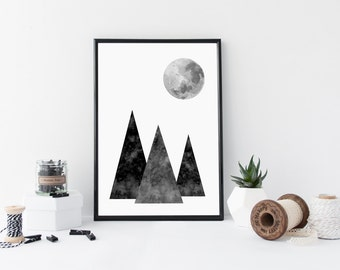 Instant download wall decor - moon and mountains