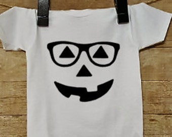 Pumpkin with glasses Shirt or Onesie