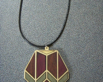 Necklace, Wood Necklace ,Wood Inlay Necklace, Salvaged wood Necklace 1