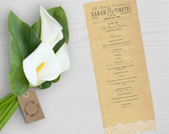 Customizable Vintage Lace and Burlap Wedding Program Printable - 4.25 x 11