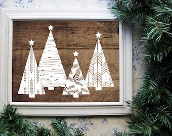 Printable Christmas Trees on Rustic Wood 8 X 10 Image