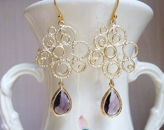 Amethyst Glass and Gold Bubble Earrings. Bridal Earrings. Bridesmaid Earrings. Bridesmaid Gift. Fall Earrings. Gift For Her