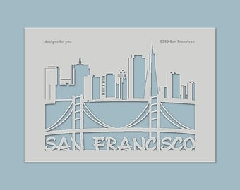 "Template ""San Francisco"" for textiles, shirts for men and women, bags, screens, T-Shirts, decorations, Windows, boxes"