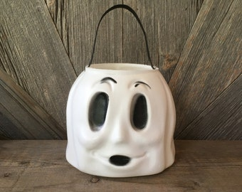 Vintage Ghost Candy Bucket {Halloween Trick-or-Treat Basket} Empire Blow Mold