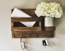 Mail Organizer (Flowers Included) , Key & Mail Holder, Rustic Organizer, Mason Jar Decor, Farmhouse Decor