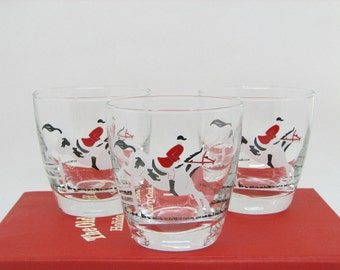 Vintage Libbey Tally Ho Old Fashioned/Rocks/Lowball Glasses with Horse and Rider, Set of 3 — Perfect Equestrian Gift!
