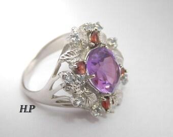 Sterling Silver Natural Amethyst Garnet Never Worn Ring ( Size 7.5 )
