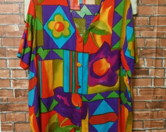 RARE Vintage Great Britain Shirt Floral Viscose Silk Tomorrow Button Up Made in Great Britain