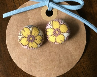 Yellow Floral Button Earrings (small size)