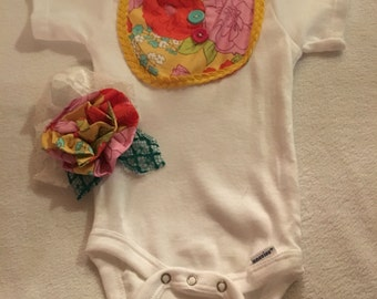 Spring colors baby girl onsie with handmade bow and handsitched onsie 0-3 months