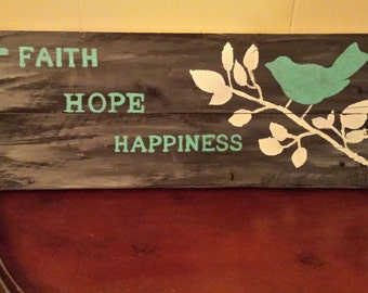 Hand painted picture on reclained wood