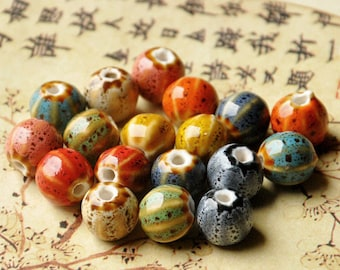 Handmade Ceramic beads-ceramic bracelet beads-nacklace beads-Jewelry Supplies-round beads