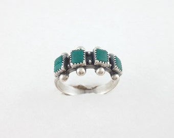 Vintage Sterling Silver Ring with 4 Green Stones Turquoise - from Mechico - 3,8 g – Sterling Silver