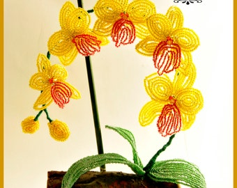 French beaded orchid, glass seed beaded flower, yellow flower from seed beads, floral home decor, original gift