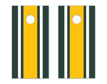 Classic Stripe - Green, White, Yellow Cornhole Board Decals