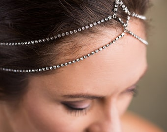 Aphrodite Crystal Headchain - Bridal Hair Jewellery