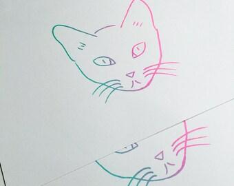 Cat screenprint A4, art print, silkscreen, cat illustration