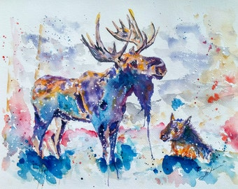 Abstract Moose Art Etsy