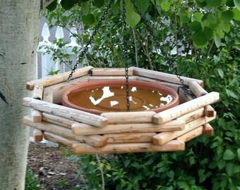 Log Bird Bath, or feeder
