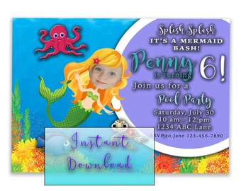 Printable Mermaid Bash Birthday Invitation