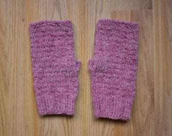 Pink Fingerless Mittens, Texting Gloves, Gifts for Teens, Wool Gloves, Rose Pink Irish Wool, Warm Wool Mittens, Made in USA