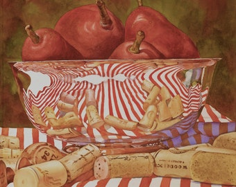 Fruit pears watercolor giclee art print, 12/12, handmade, reflections, reds, silver bowl, still life by Phyllis Nathans, art gifts