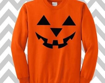 Pumpkin Face Jack-O-Lantern Halloween Sweatshirt Unisex  Scary Pumpkin Face Halloween  Pumpkin Face Tee Halloween Costume Party Shirt-2