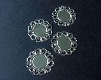 20 Silver Plated Round Hollow Pattern Cameo Frame Setting 36mm  Fit 18mm Cameo
