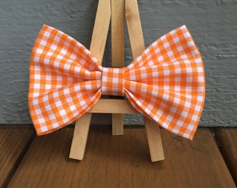 orange and white check, gingham bow tie, dog bow tie