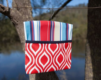 Peg Bag - Flame/Sailor Stripe/Navy